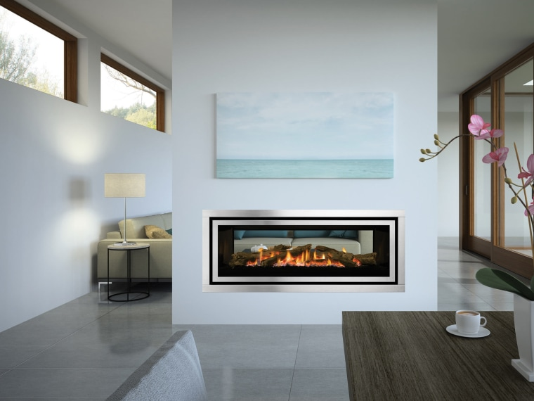 Regency Greenfire GF1500LST fireplace, hearth, interior design, living room, gray