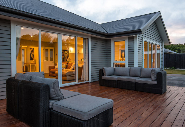 Relaxing deck area on REB Builders timber weatherboard home, house, interior design, outdoor structure, real estate, window, black