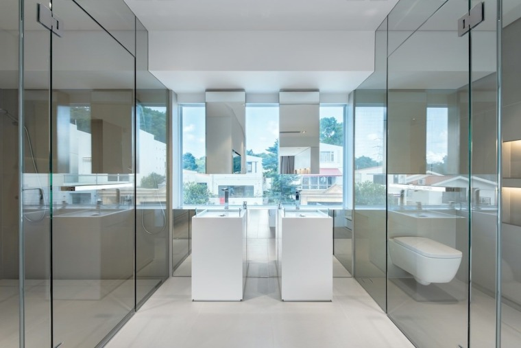 His and hers sinks feature views of the architecture, glass, interior design, product design, gray
