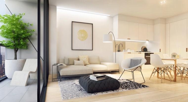 This apartment – one of the smaller variants ceiling, floor, furniture, home, interior design, interior designer, living room, room, white