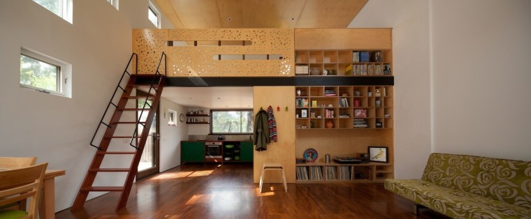 Architect: Steffen Welsch Architects ceiling, floor, flooring, hardwood, home, house, interior design, living room, loft, property, real estate, room, shelving, stairs, wall, wood, brown, gray