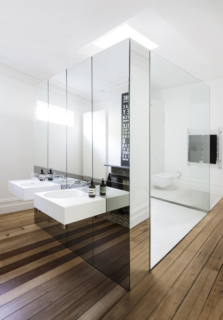 Eva-Marie Prineas of Architect Prineas.This bathroom also won:2015 bathroom, floor, flooring, interior design, product design, sink, tap, white
