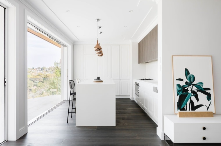 White cabinetry stands in contrast dark wood floors floor, home, house, interior design, product design, white