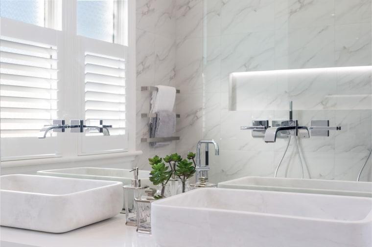 Paul Leuschke bathroom, bathroom sink, floor, interior design, plumbing fixture, product design, property, room, sink, tap, tile, wall, white, gray