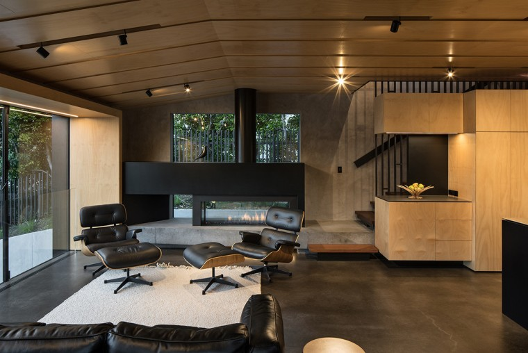 With living spaces in front and stairs behind, architecture, ceiling, floor, house, interior design, living room, lobby, brown