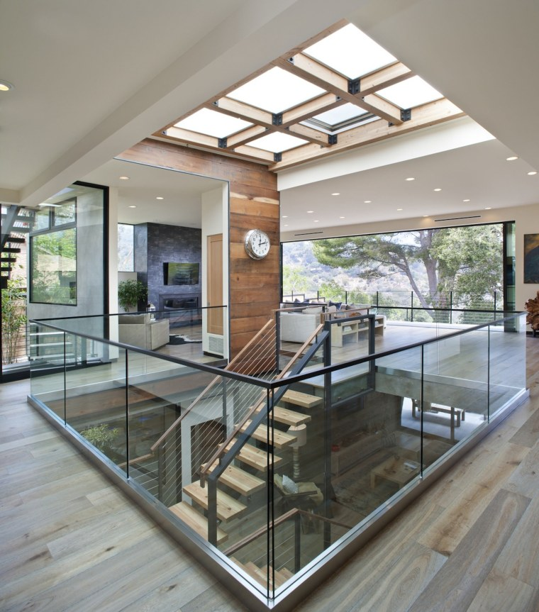 A six panel skylight sends the sun down architecture, daylighting, floor, glass, handrail, house, interior design, real estate, window, gray