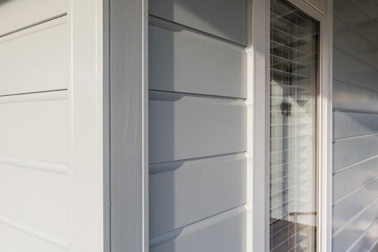 Envira weatherboard timber box corner detail closet, gray, white