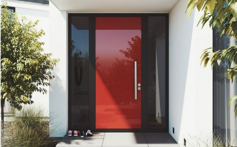 Element door in Lobster red door, facade, home, house, interior design, property, real estate, window