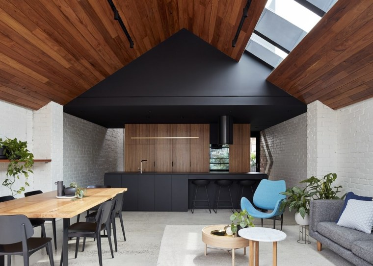 Looking back into the kitchen architecture, ceiling, daylighting, house, interior design, living room, roof, gray, brown