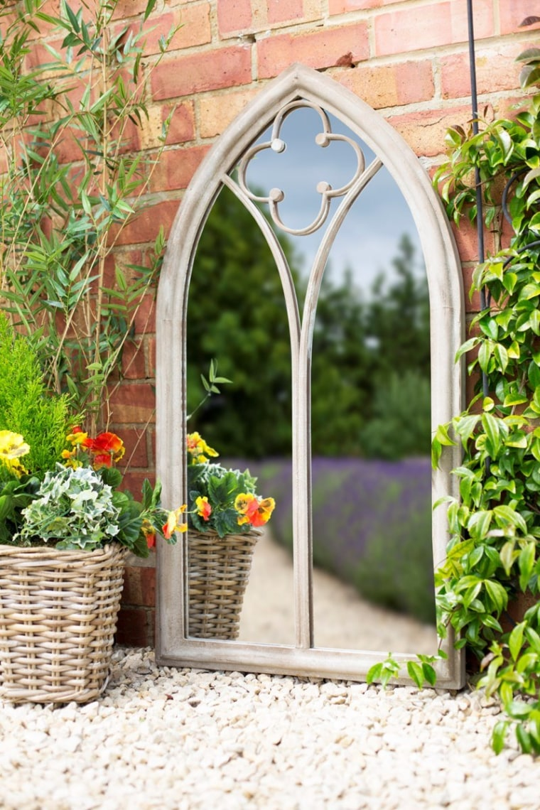 Using mirrors to add interest to a arch, architecture, garden, plant, yard, white