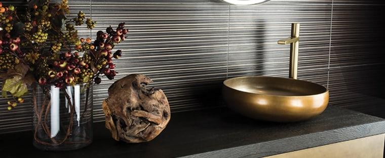 The Sixty Vanity is a great option for floor, flooring, interior design, room, sink, tile, wood, black