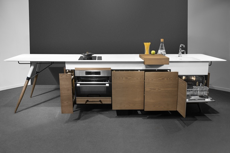 As everything is fitted beneath the worktop, the cabinetry, design, desk, floor, flooring, furniture, interior design, material property, plywood, product, room, table, black, gray