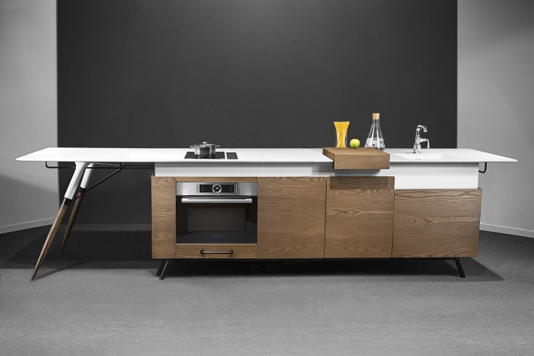An all-in-one piece, the Kitch' T® is easy desk, furniture, interior design, material property, product, room, table, black, gray