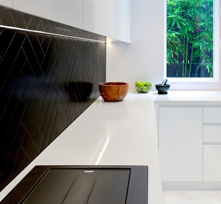 Black and white are balanced to crisp effect architecture, building, ceramic, countertop, floor, flooring, furniture, gloss, hardwood, home, house, interior design, kitchen, line, marble, material property, property, room, tap, tile, white, white, black