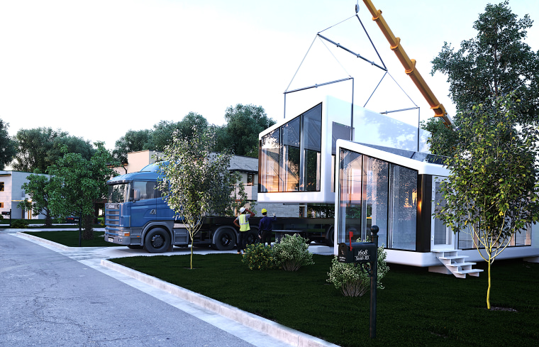 This version is suited to a small family, architecture, building, cottage, facade, grass, home, house, property, real estate, residential area, roof, siding, transport, tree, vehicle, white