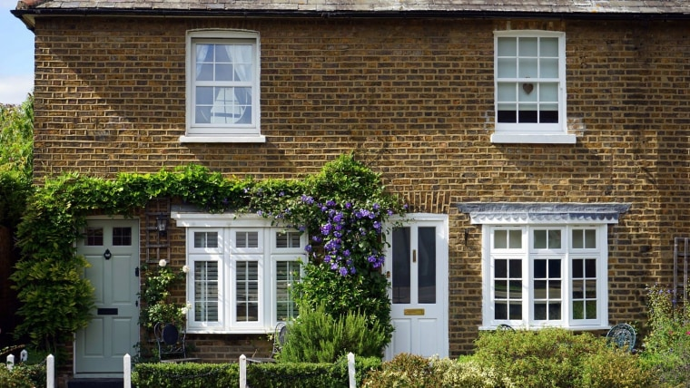 With space limited in a smaller garden, you architecture, brick, brickwork, building, cottage, door, facade, home, house, neighbourhood, plant, property, real estate, residential area, roof, sash window, shrub, tree, wall, window, brown