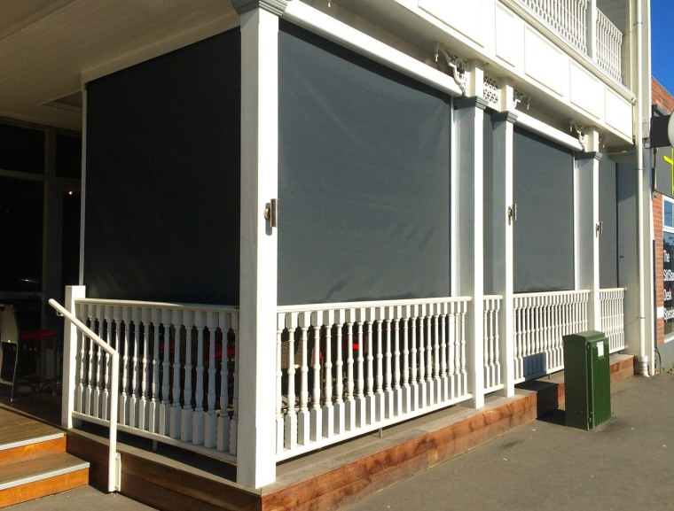 Calido Screens after being put down door, handrail, outdoor structure, porch, product, shade, structure, window, gray, black