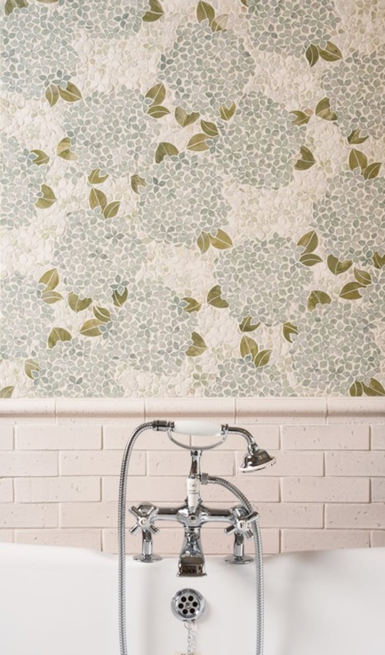 Hydrangea interior design, tile, wall, wallpaper, white