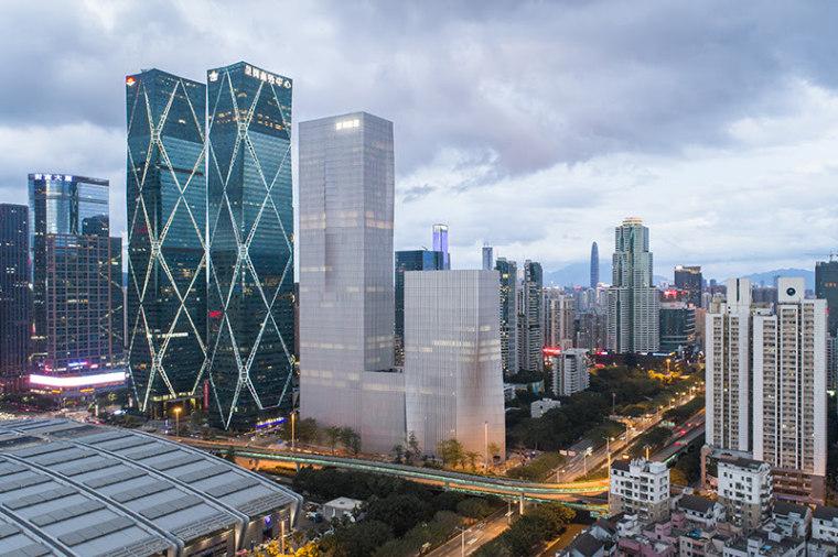 BIG's pleated skyscraper beats the heat - building building, city, cityscape, condominium, daytime, downtown, landmark, metropolis, metropolitan area, mixed use, sky, skyline, skyscraper, tower, tower block, urban area, gray
