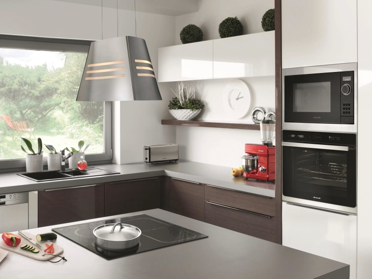 Brandt appliances combine style and functionality with great building, cabinetry, countertop, cuisine classique, cupboard, exhaust hood, floor, furniture, home, home appliance, house, interior design, kitchen, kitchen appliance, kitchen stove, major appliance, material property, microwave oven, property, refrigerator, room, small appliance, tile, white, white, gray