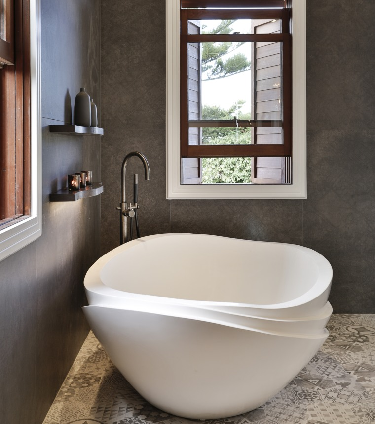 The Serenity bath was chosen for the beautiful bathroom, bathroom sink, bathtub, ceramic, interior design, plumbing fixture, sink, tap, toilet seat, gray, black
