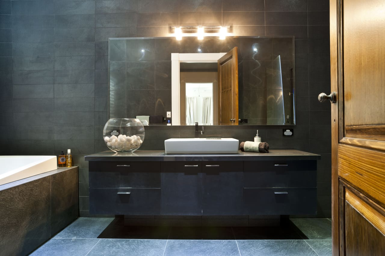 In The Mood Black Bathroom With Subtle Textures Trends