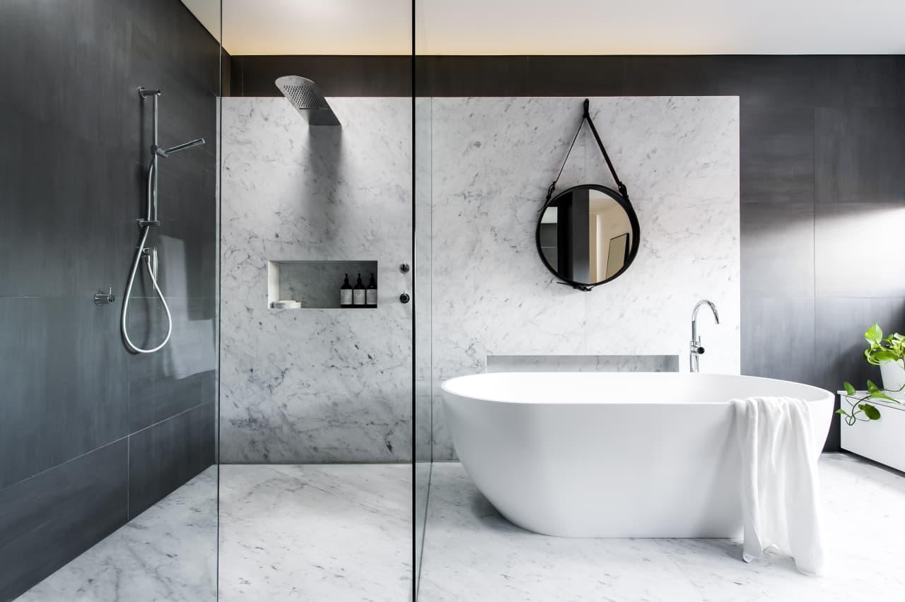 Modern Bathroom With Carrara Marble Plinth Trends