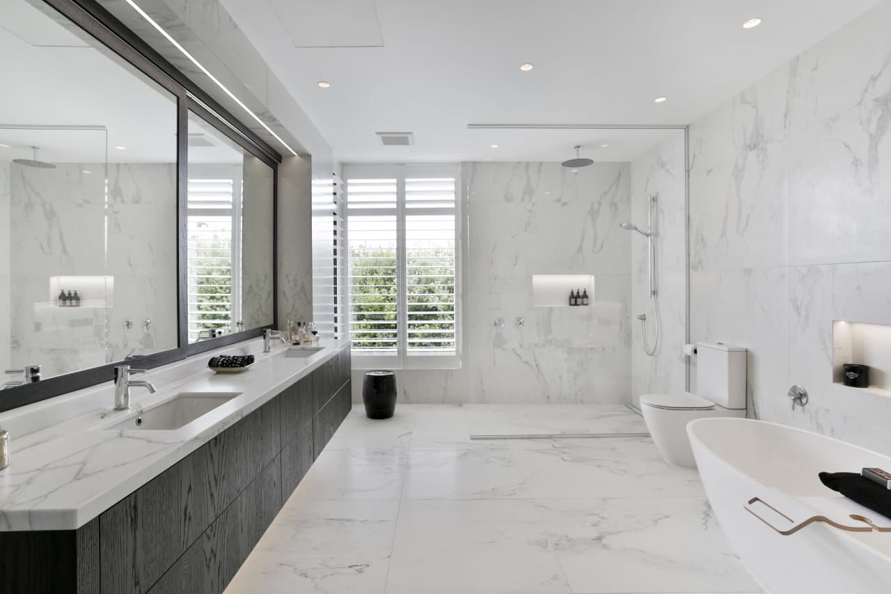 Marble Look Tiles Give This Ensuite A Luxurious Trends