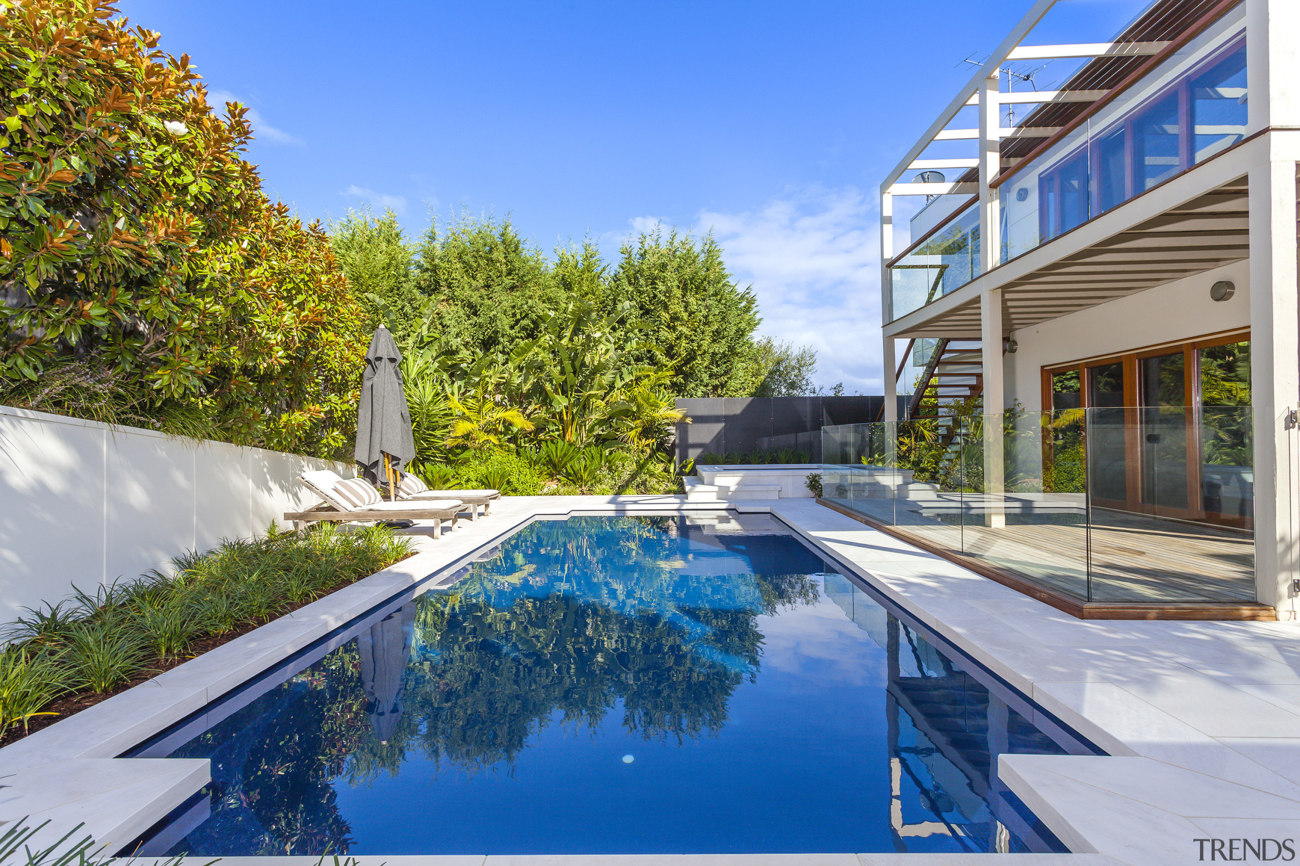 In-ground fibreglass swimming pools from Narellan Pools can architecture, condominium, estate, home, house, leisure, property, real estate, reflection, residential area, swimming pool, villa, water