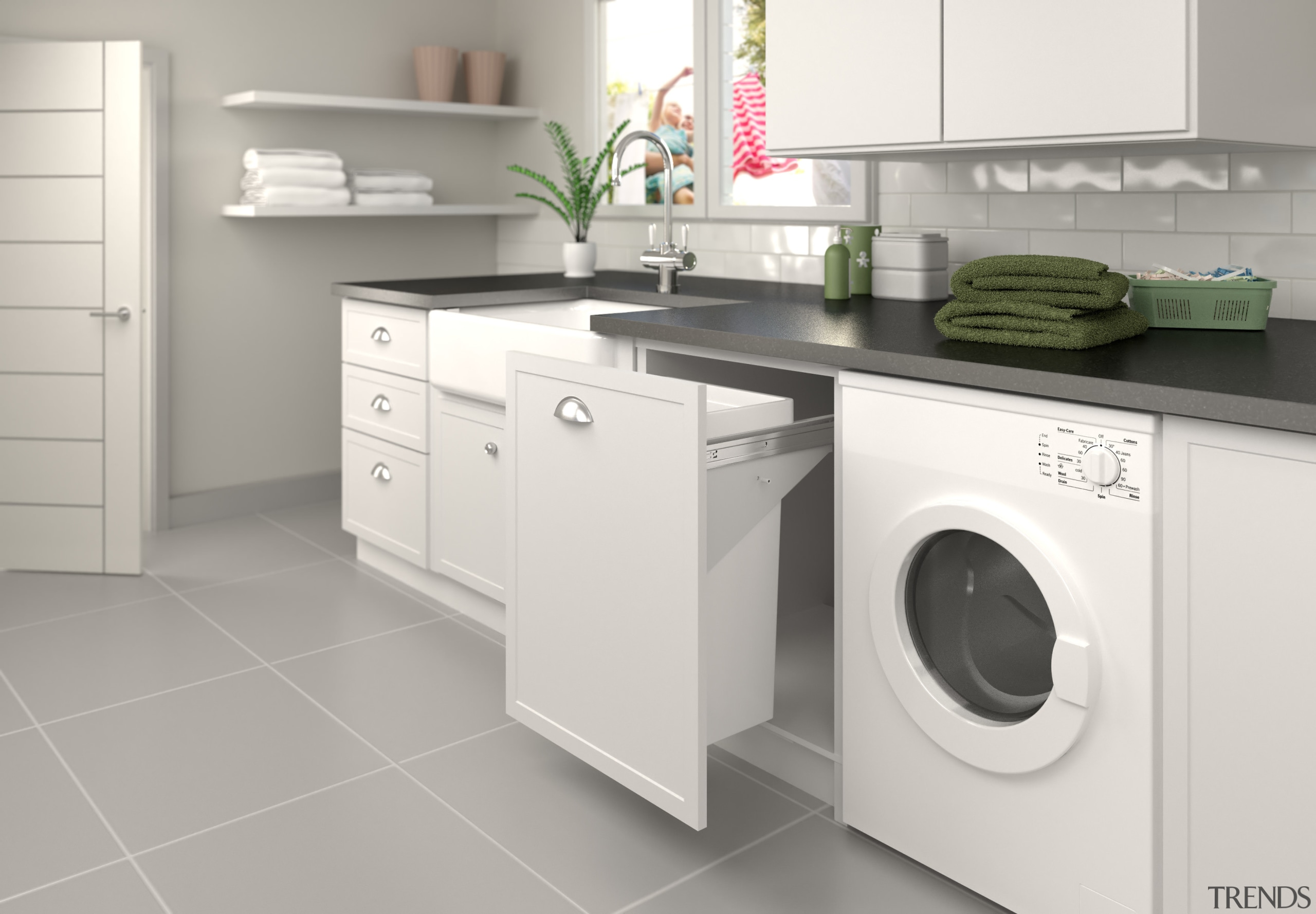 The baskets glide smoothly out of sight. - clothes dryer, countertop, home appliance, kitchen, laundry, laundry room, major appliance, product, product design, room, washing machine, white