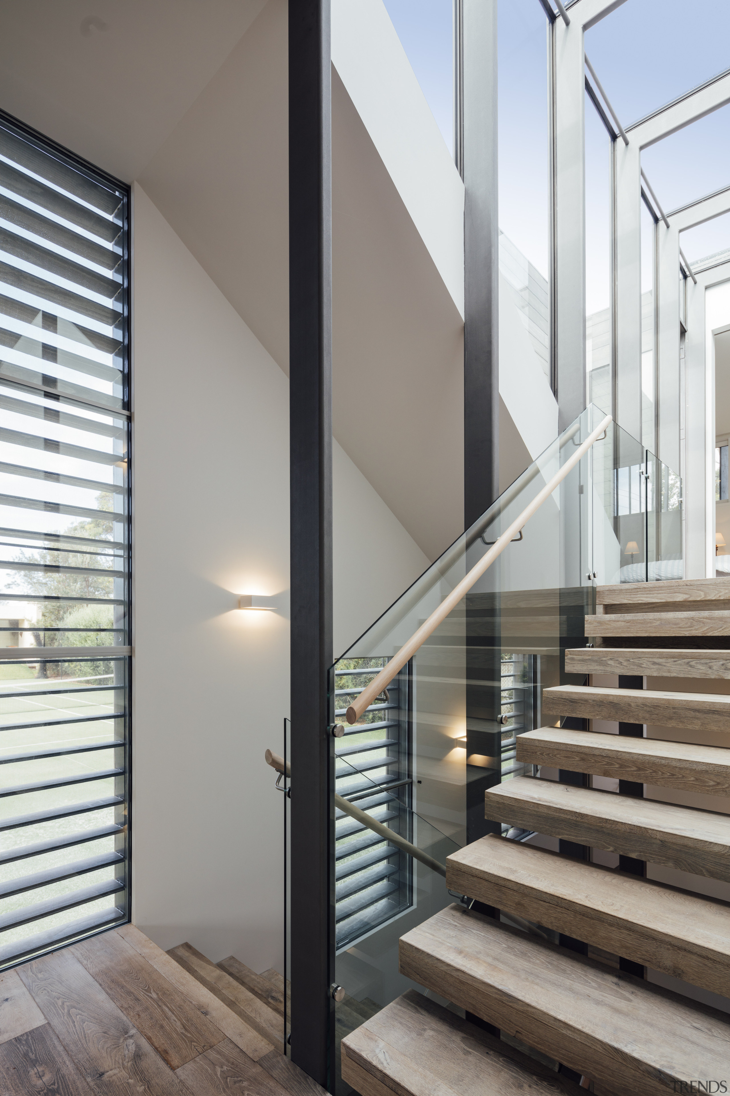 Stairwell Meets Lightwell While The Stairs Descend Architecture, Daylighting, Glass,