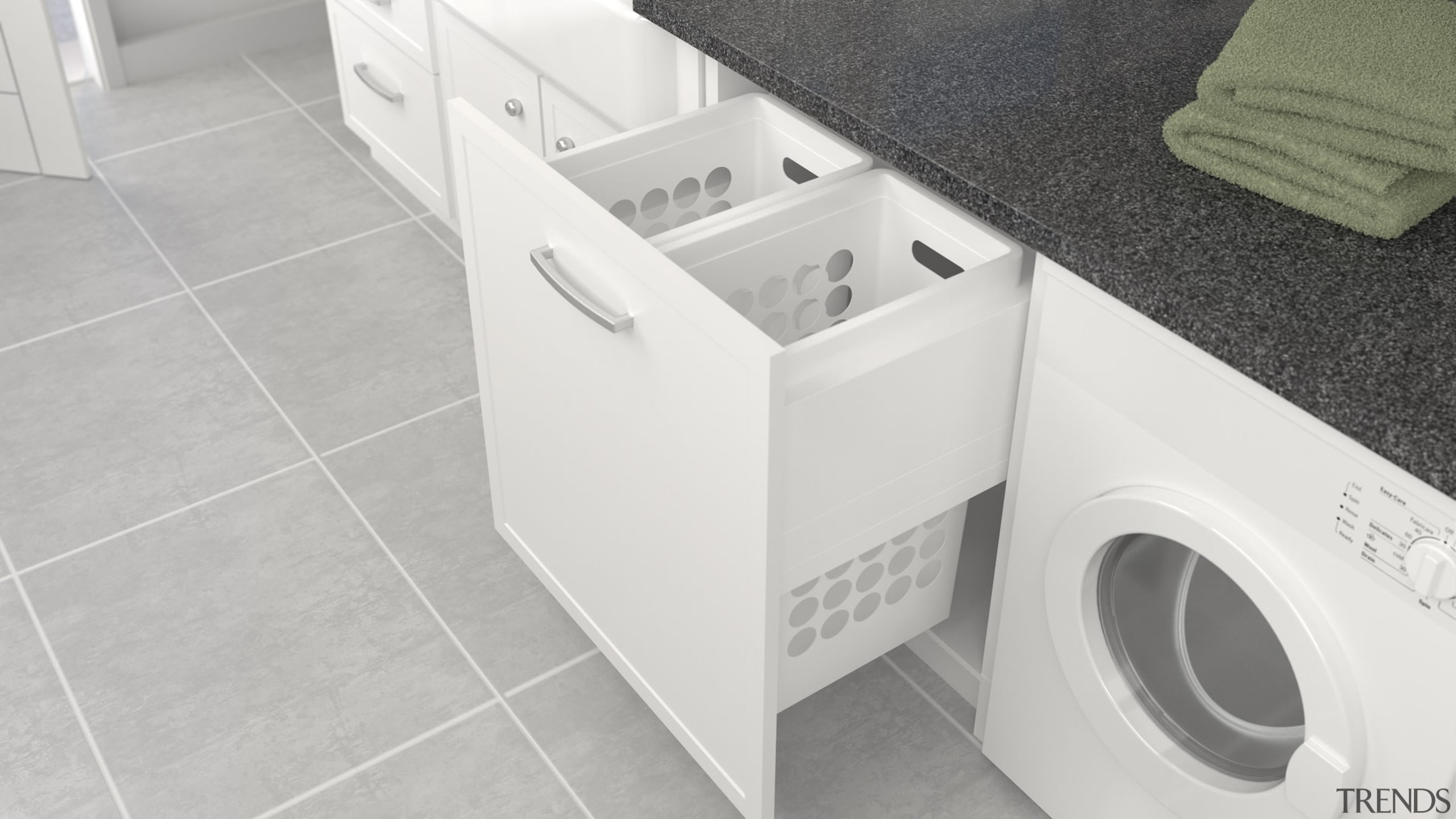 Deluxe pull out laundry units with plastic baskets clothes dryer, floor, home appliance, laundry, major appliance, plumbing fixture, product, tile, toilet, toilet seat, washing machine, white