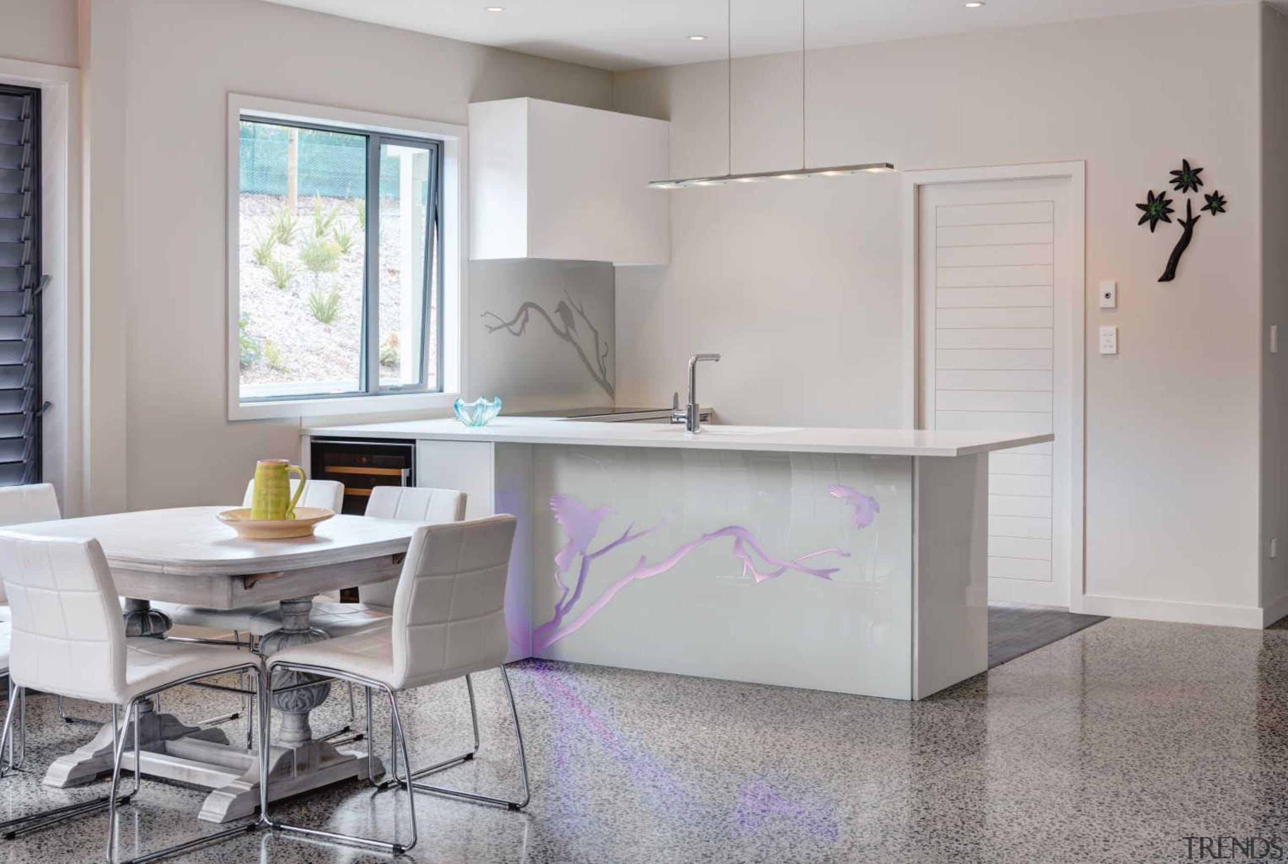 Every kitchen needs a hero and a vibrant countertop, floor, furniture, interior design, kitchen, product design, table, gray