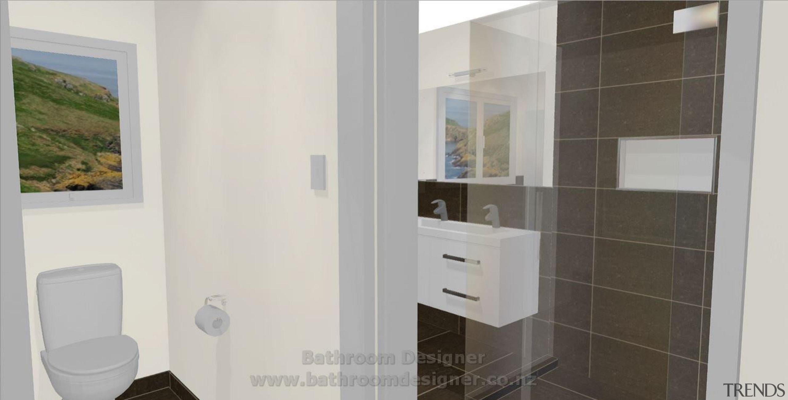 Bathroom Designer showing partially tiled walls in bathroom bathroom, bathroom accessory, bathroom cabinet, interior design, property, room, gray