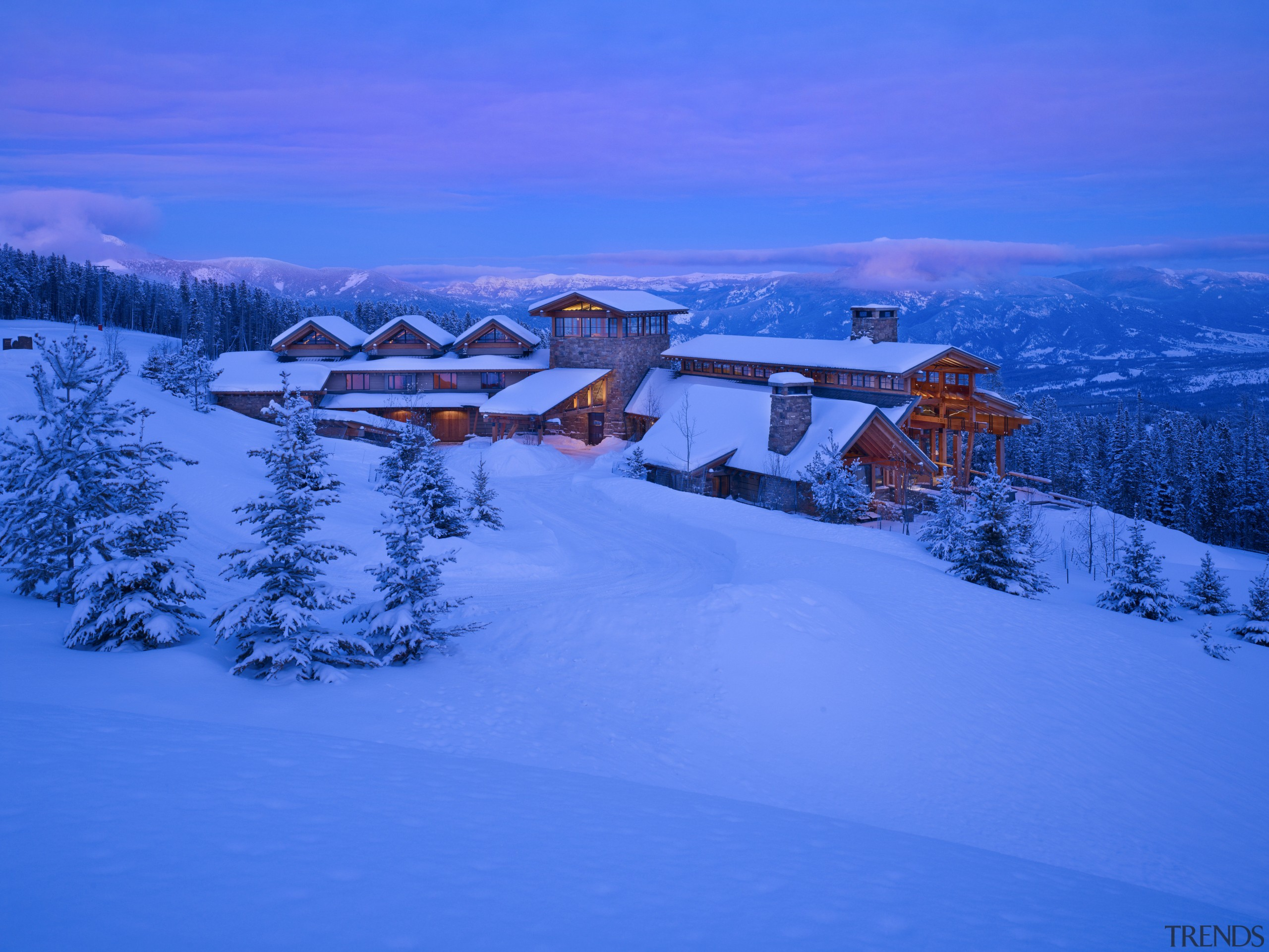 The master bedroom wing of this mountain retreat alps, arctic, cloud, freezing, geological phenomenon, glacial landform, landscape, mount scenery, mountain, mountain range, mountainous landforms, nature, piste, sky, snow, tree, winter, blue