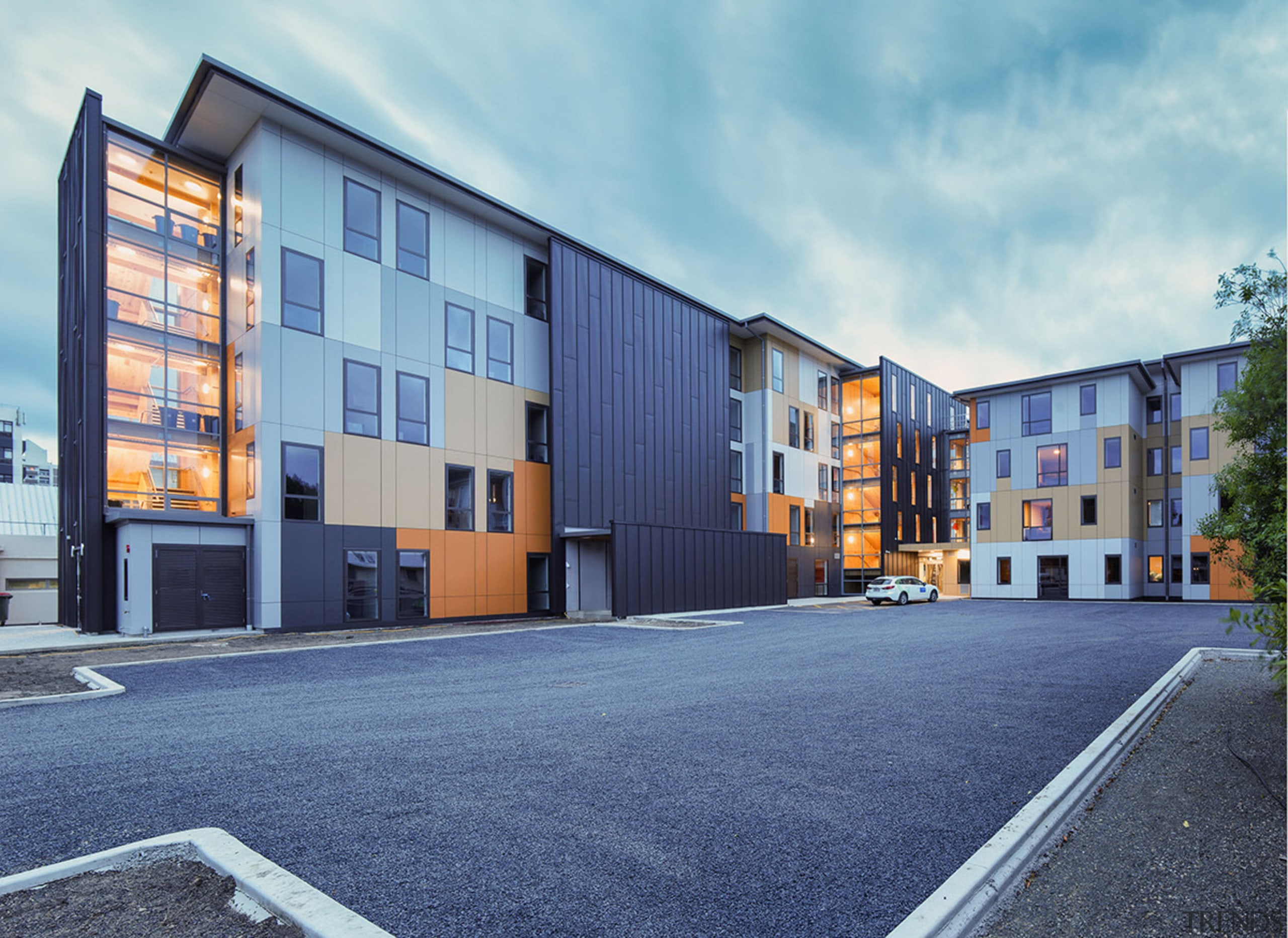 The Otago Polytechnic Student Village's faceted exterior creates apartment, architecture, building, commercial building, condominium, elevation, facade, home, house, mixed use, neighbourhood, property, real estate, residential area, sky, blue