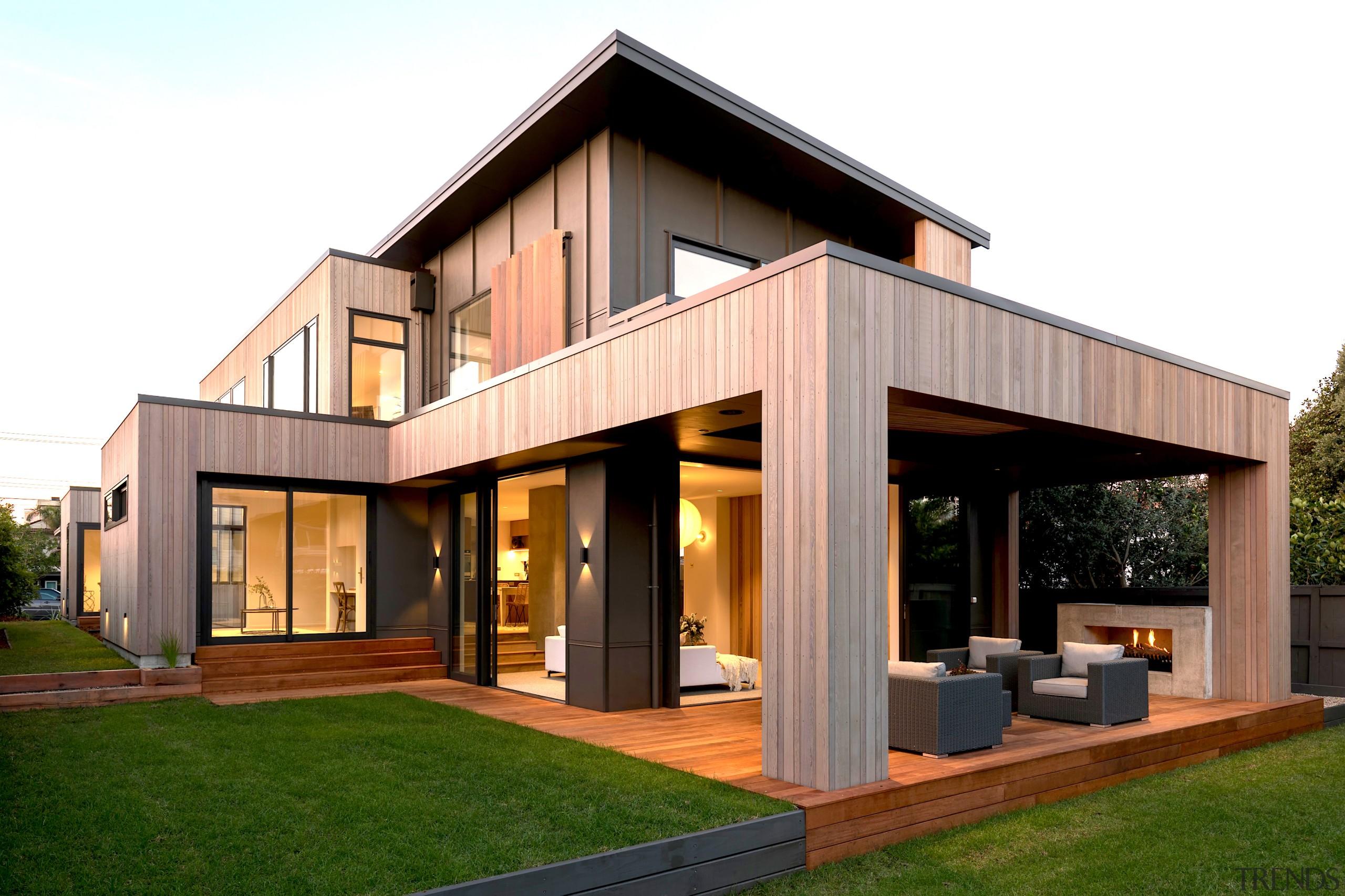 JMAC Architecture – Finalist – 2019 TIDA Homes architecture, backyard, building, cottage, design, estate, facade, farmhouse, home, house, interior design, land lot, property, real estate, roof, siding, wood, white