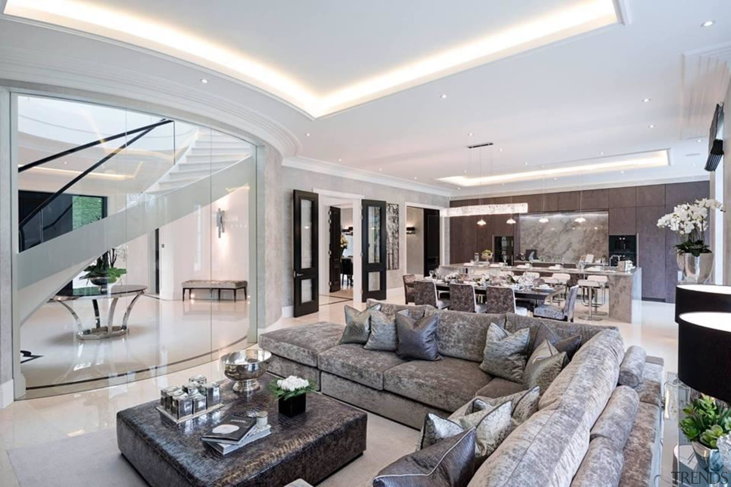 We want this zone to feel more relaxed, ceiling, estate, home, interior design, living room, penthouse apartment, property, real estate, gray