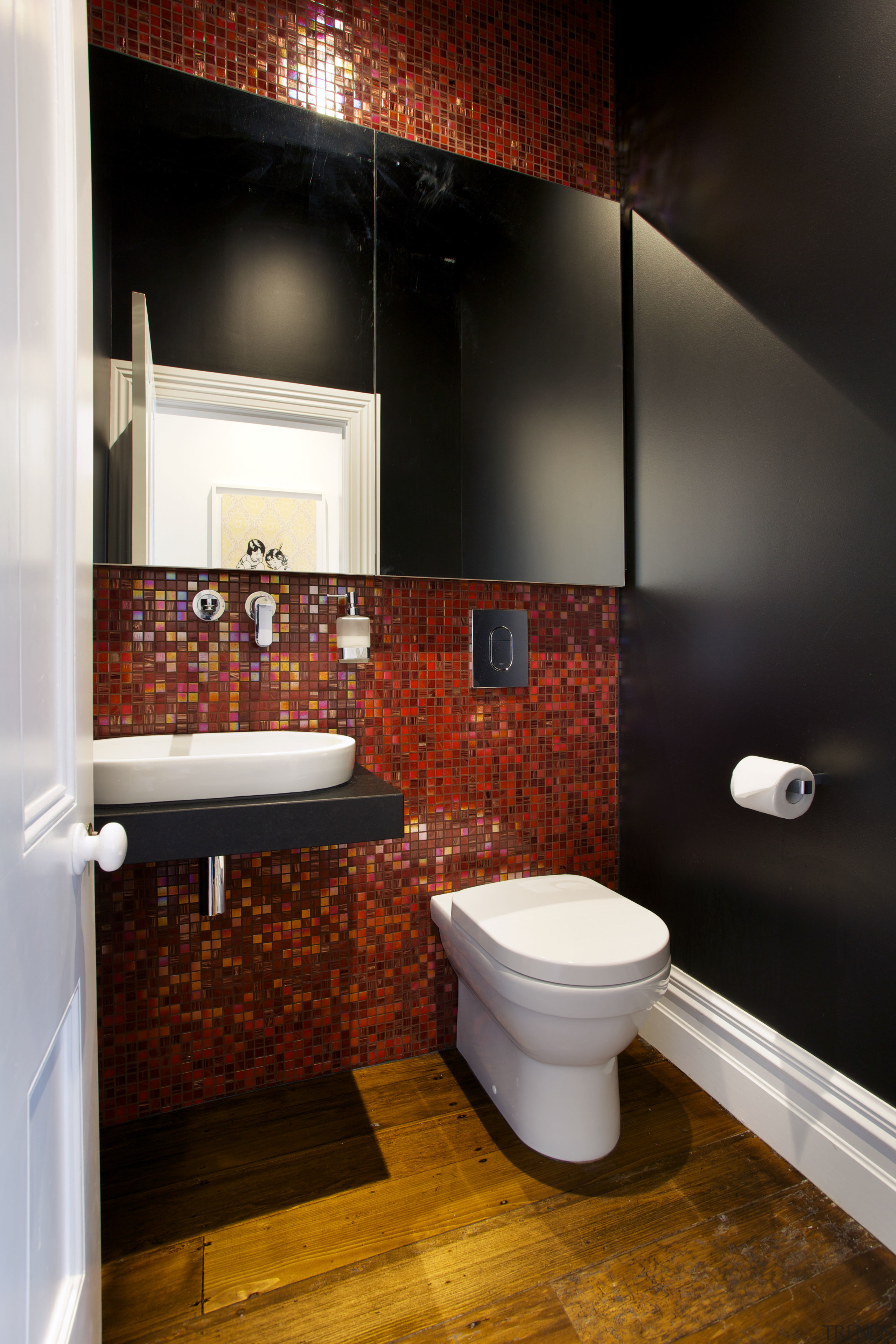 Warm red mosaic tiles line a feature wall bathroom, ceiling, floor, home, interior design, room, tile, wall, black