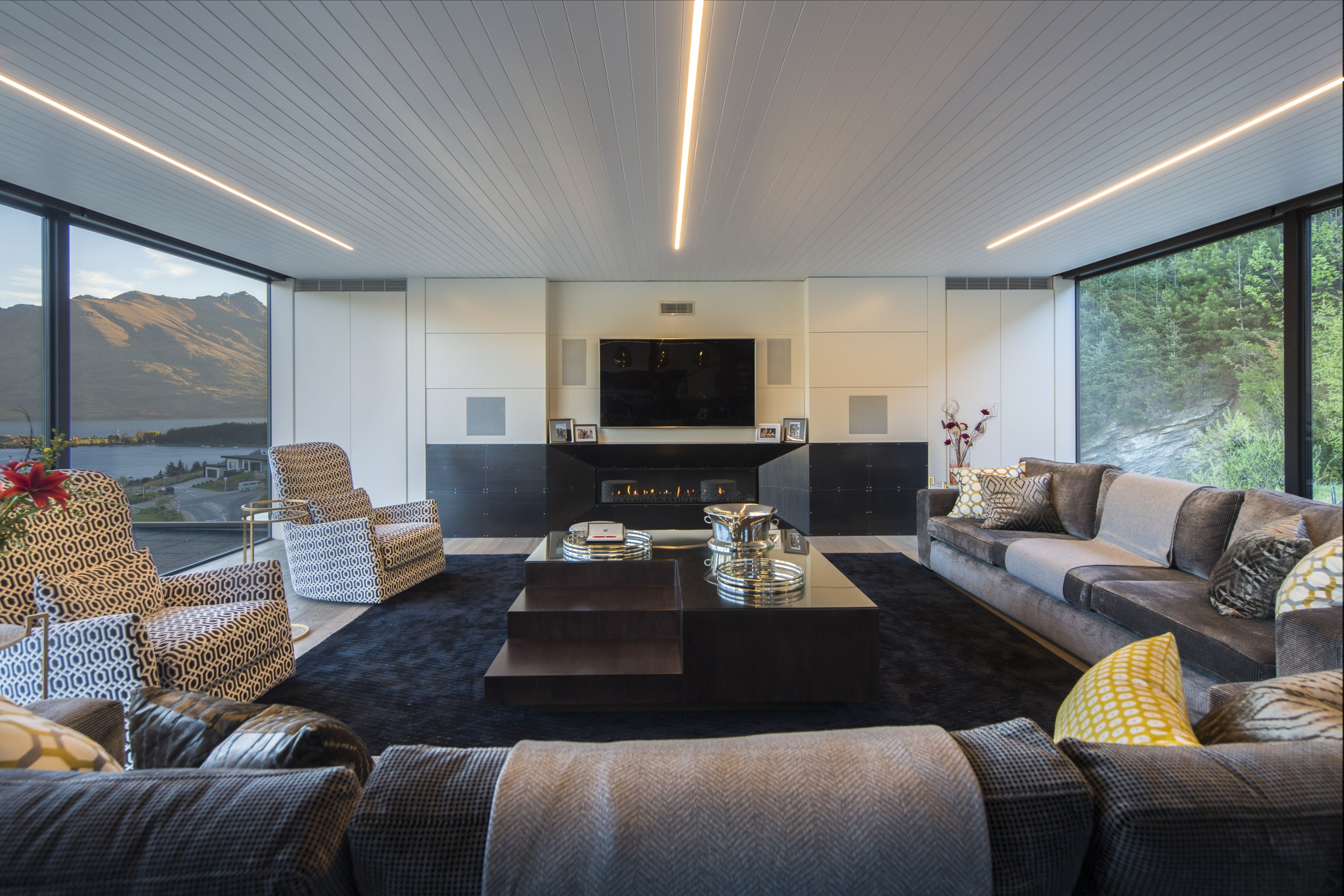 Ceiling strip lights are used in several areas architecture, ceiling, home, house, interior design, living room, Gary Todd Architecture, pendant lights