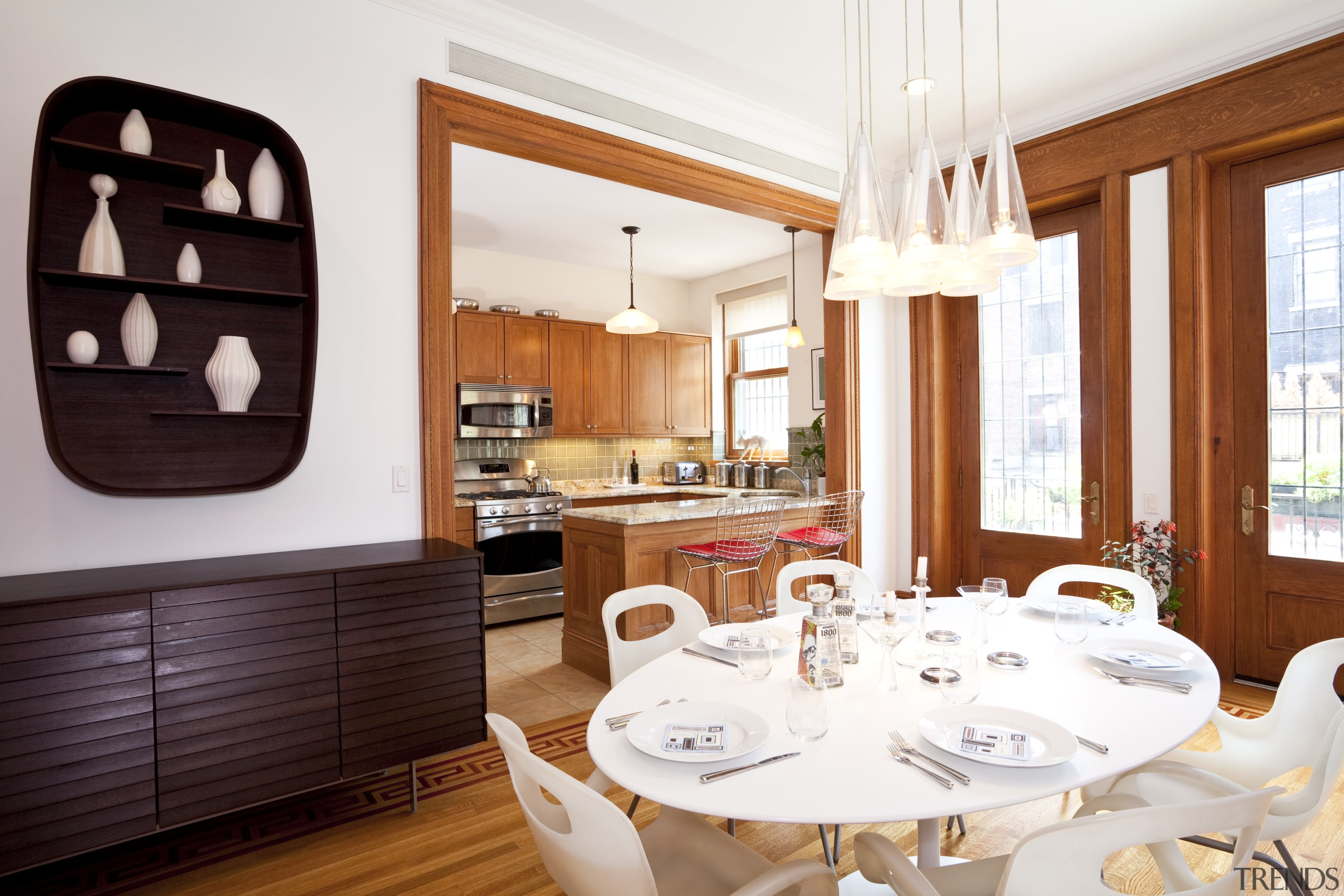 This house was remodeled by Architect Brian J. dining room, interior design, real estate, table, white