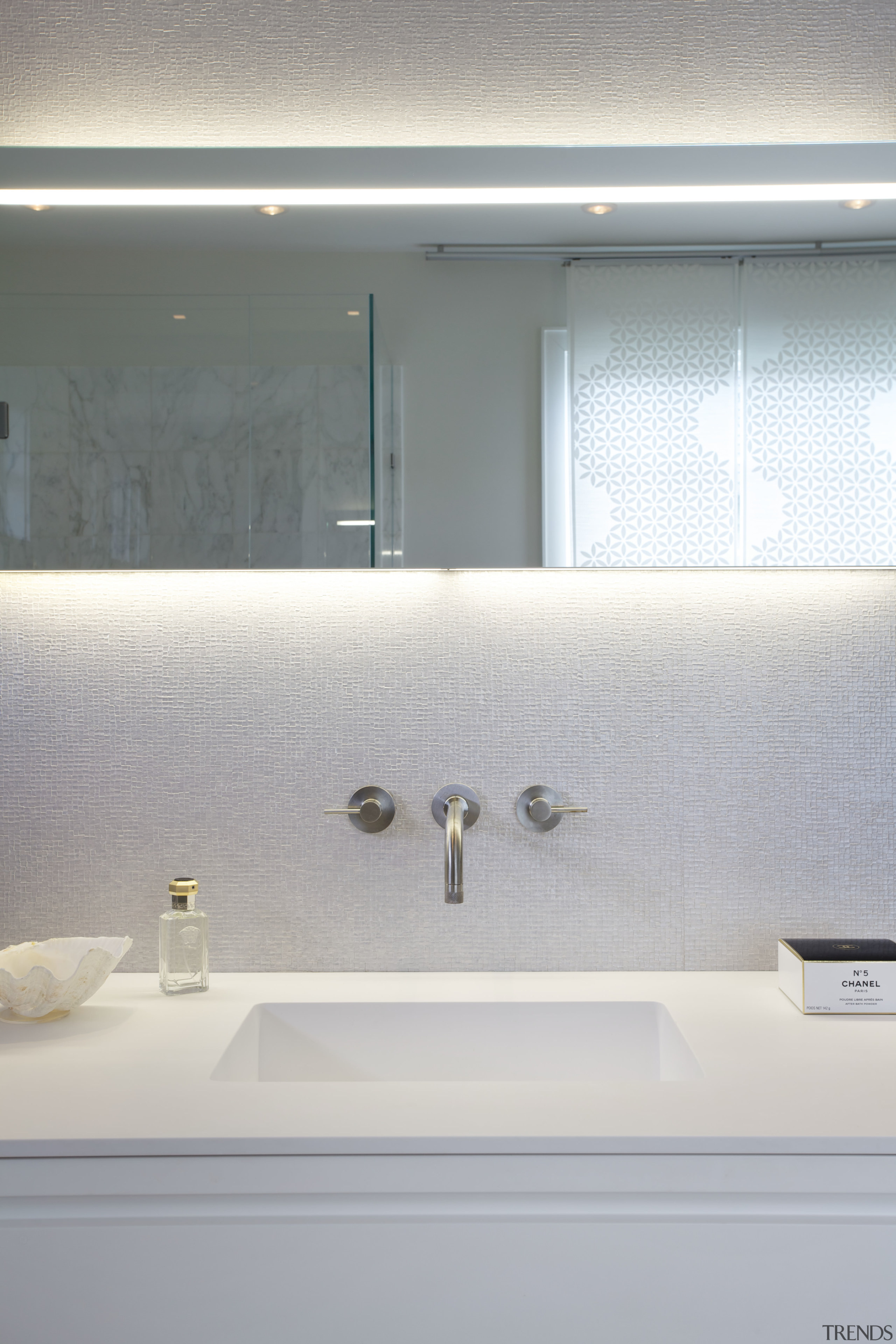 Wall-mounted faucets reinforce the clean, uncluttered look of architecture, bathroom, ceiling, daylighting, interior design, plumbing fixture, product design, room, sink, tap, gray, white
