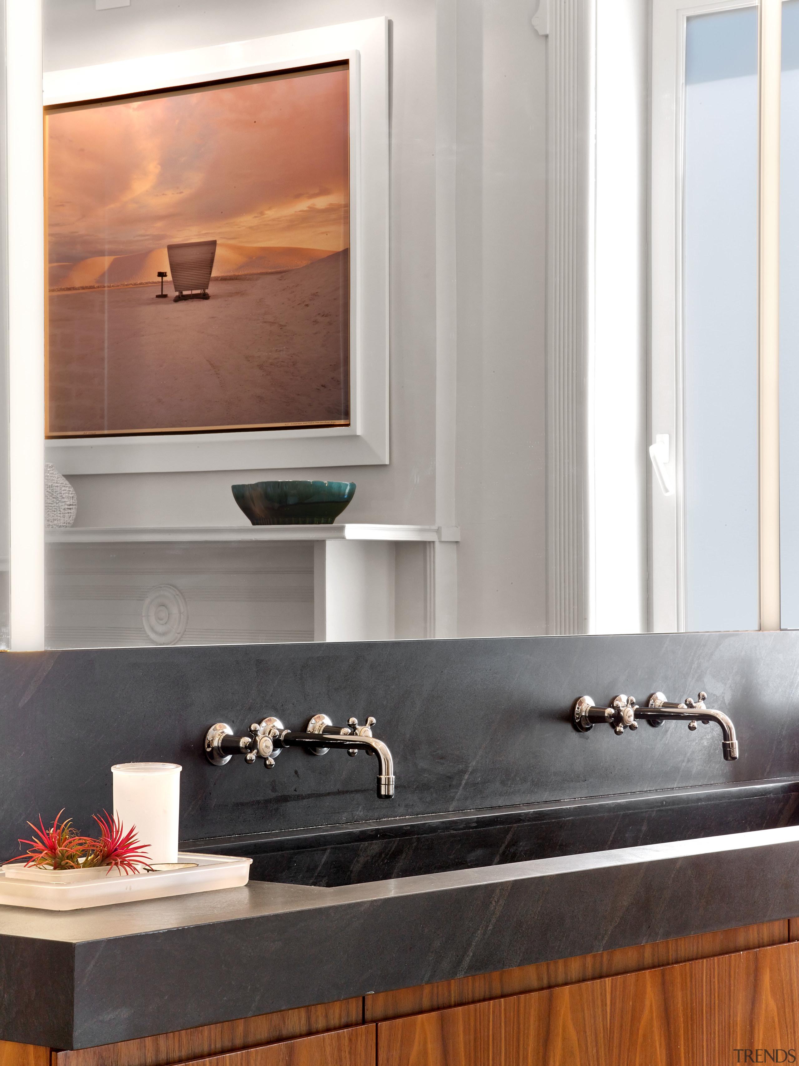 The top of this double vanity is in bathroom, countertop, floor, flooring, interior design, room, sink, tap, wall, white