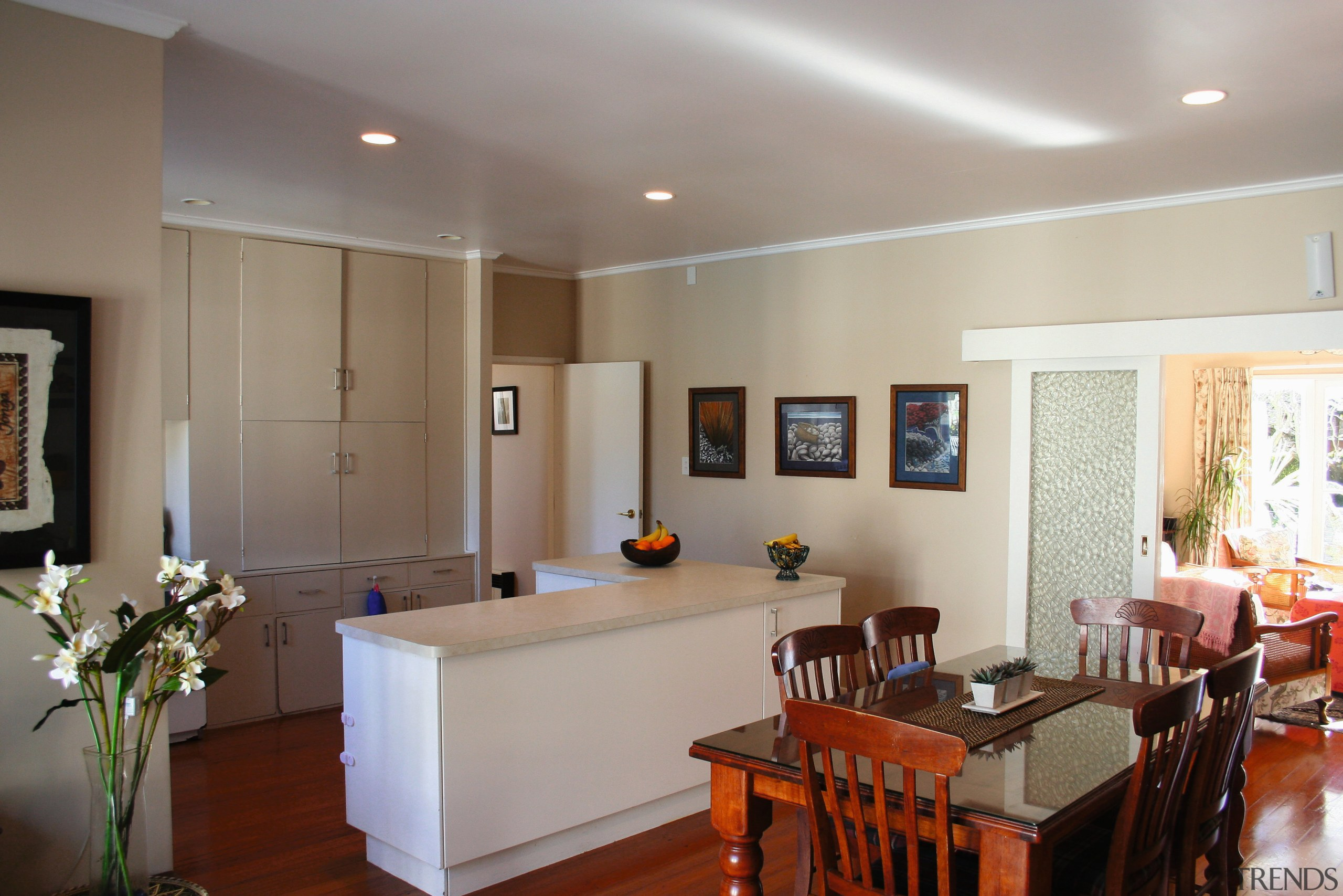 A view of the kitchen before it was apartment, ceiling, dining room, interior design, living room, property, real estate, room, gray