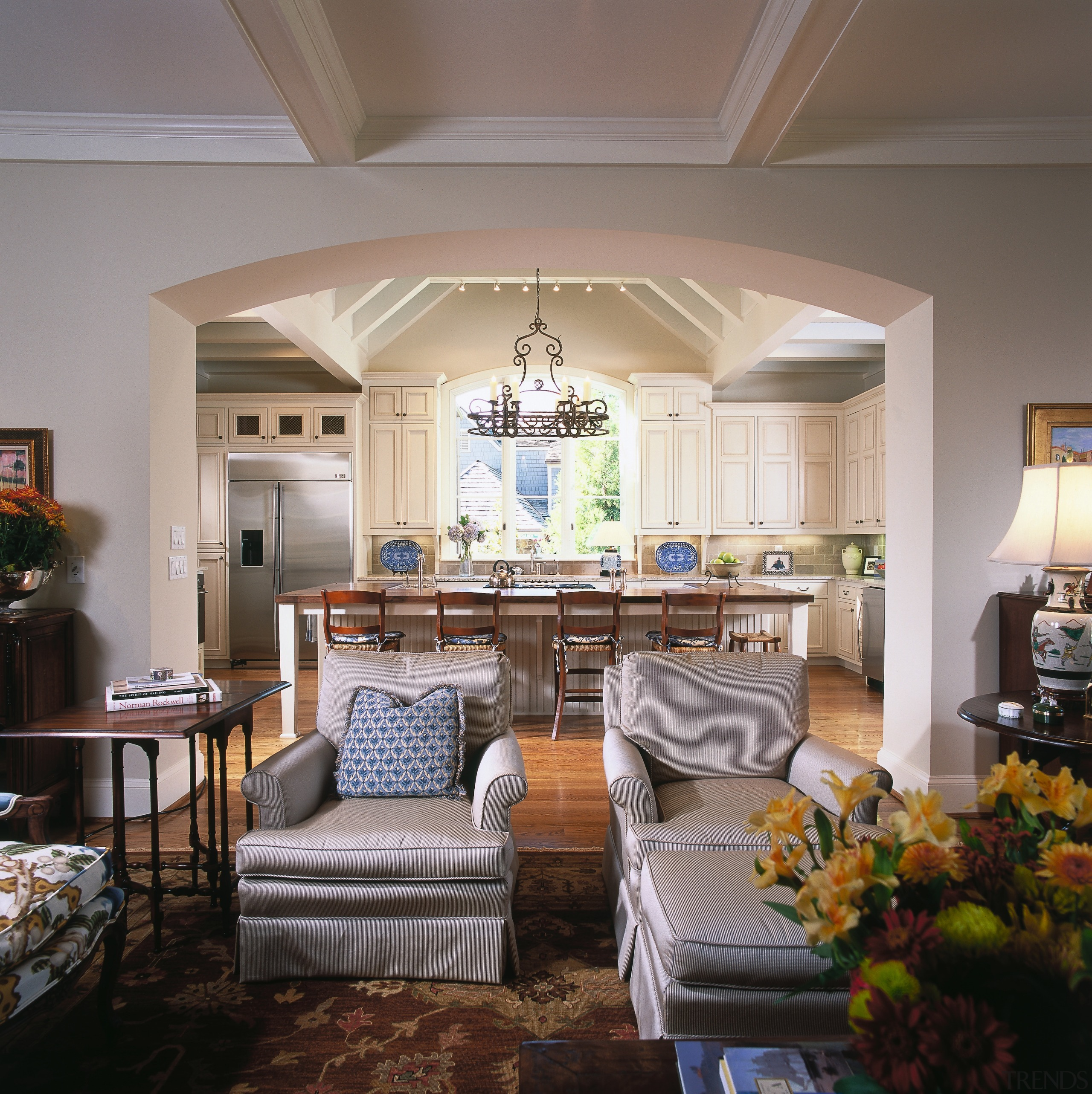 A view of the kitchen from the living ceiling, dining room, home, interior design, living room, real estate, room, gray