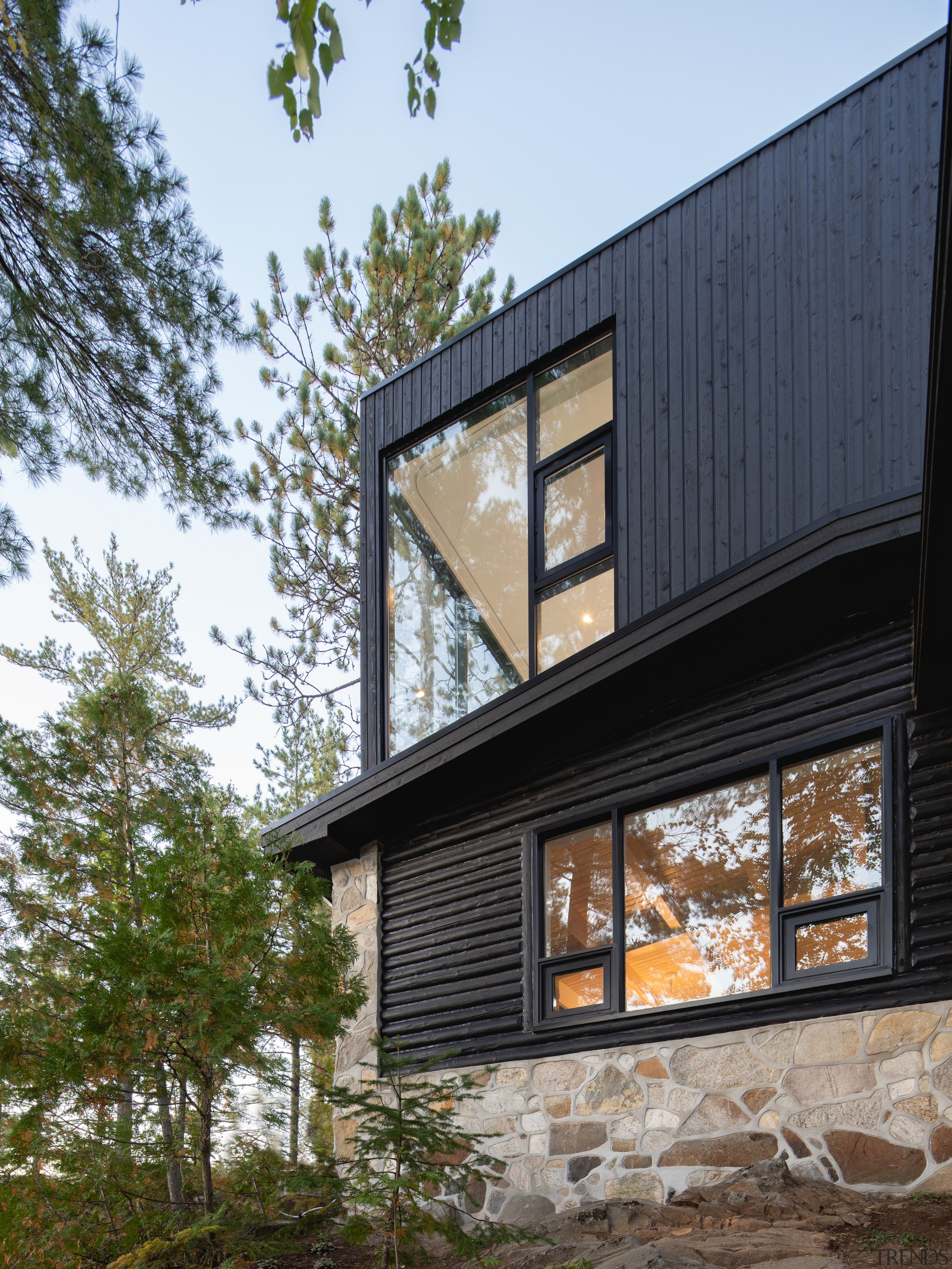 The extension's dramatic black cladding contrasts and complements