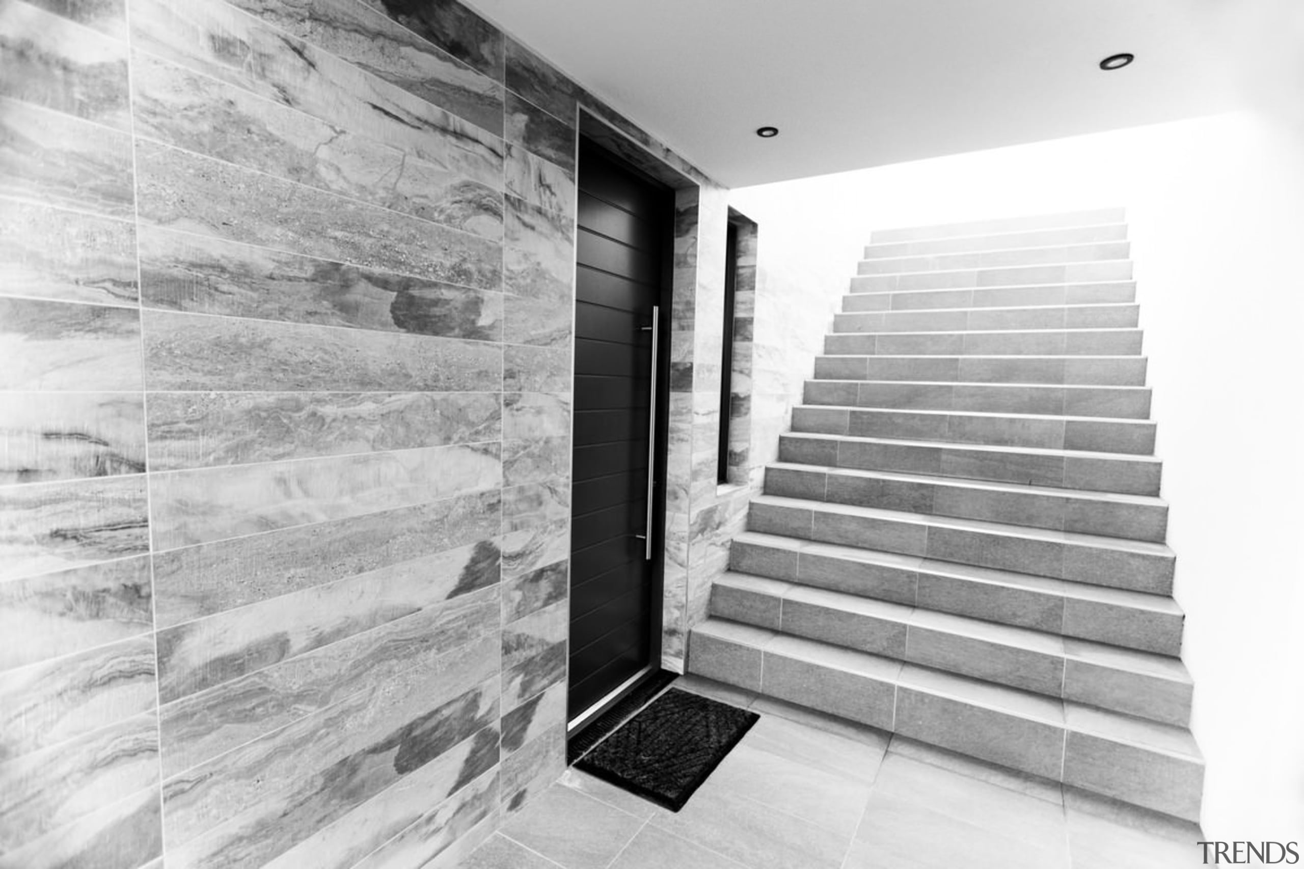 Architect: 2020 ArchitectsPhotography by Reinis Babrovskis architecture, black and white, floor, interior design, monochrome, monochrome photography, wall, white, gray