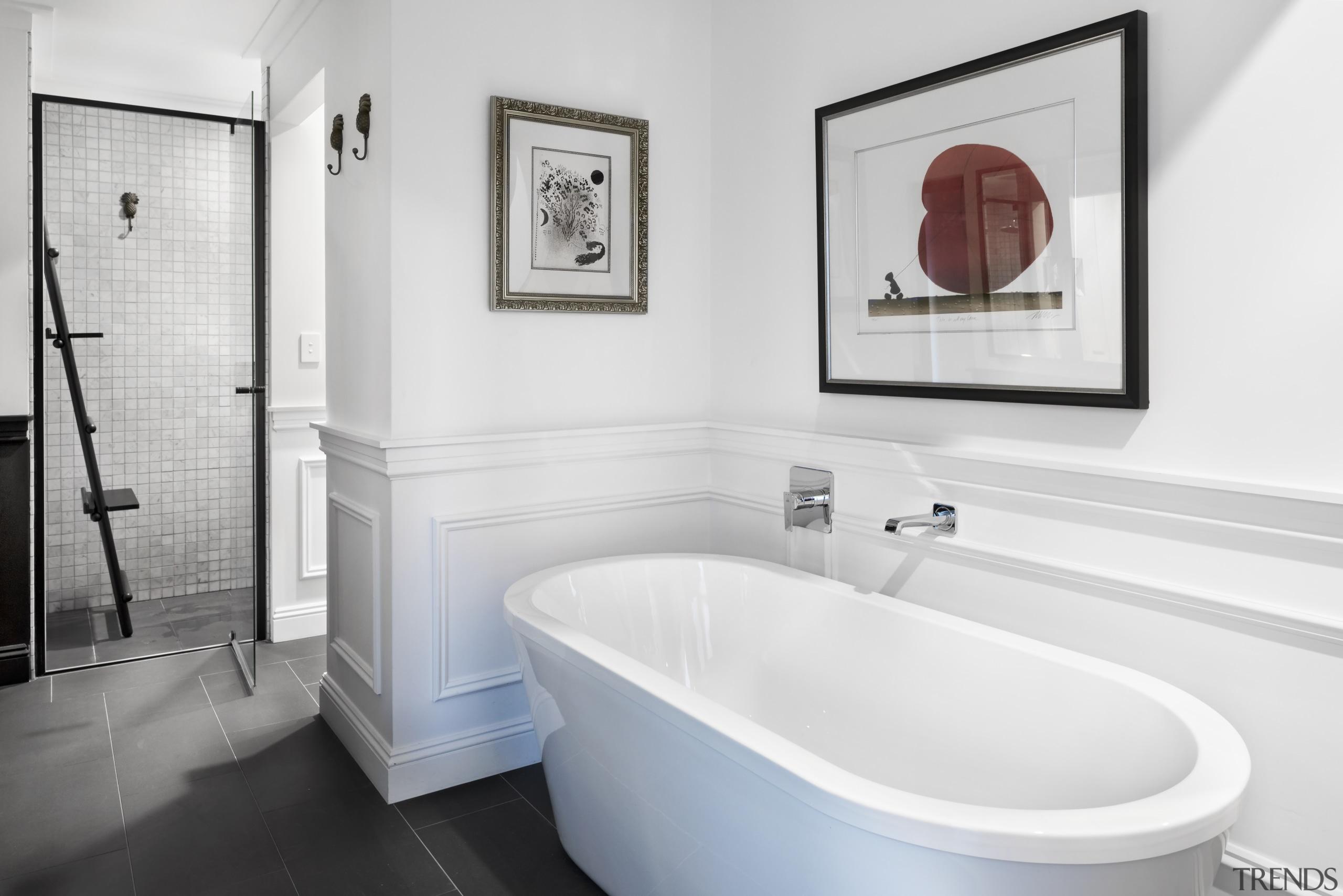 Even the artwork over the freestanding tub gets bathroom, bathroom accessories, tiled floor, bathroom design, plumbing fixtures, tap, white, Leon House