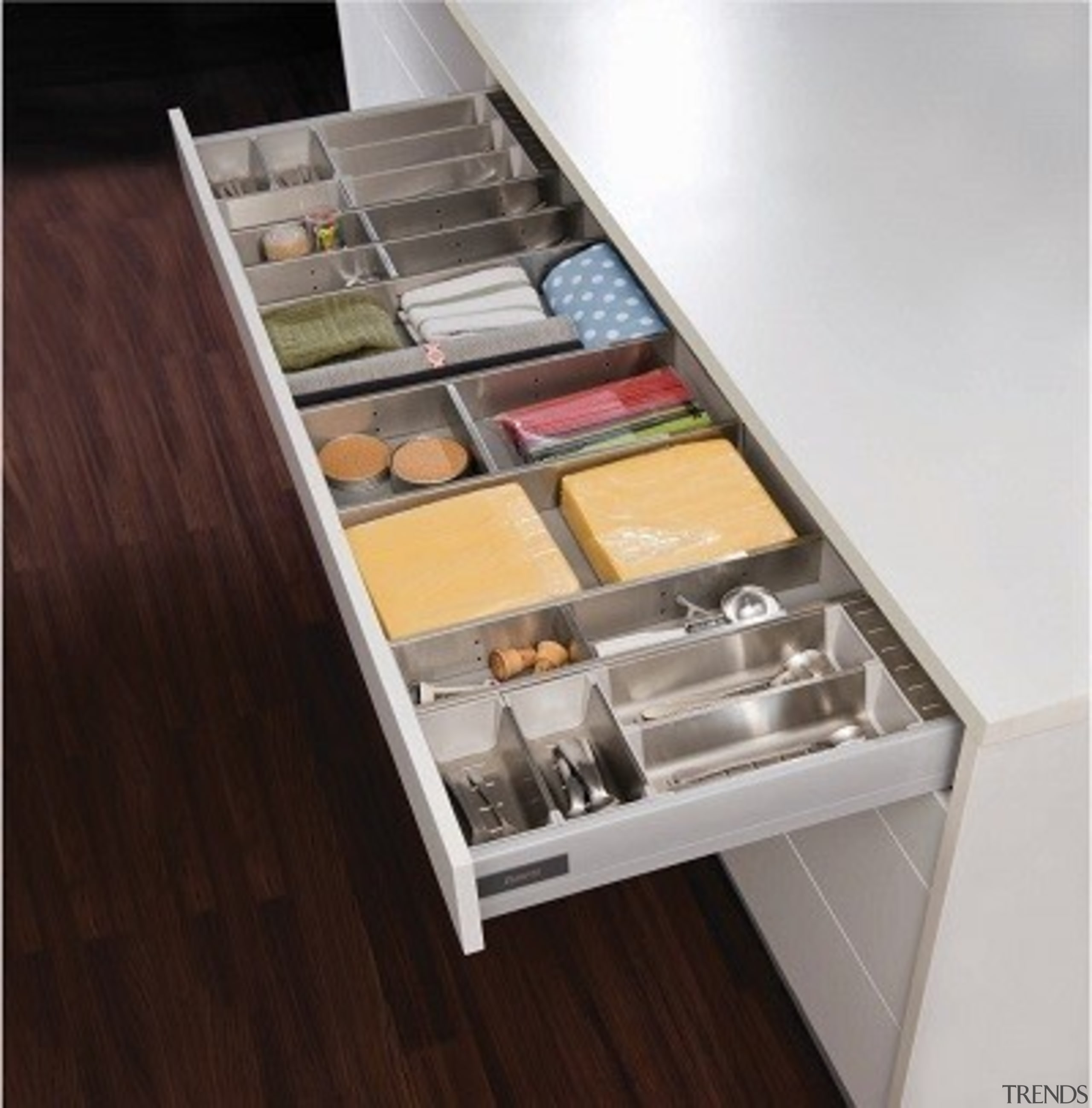 Team up Harn Triomax drawers with Impala Inoxa countertop, drawer, furniture, kitchen, product, product design, table, gray, black