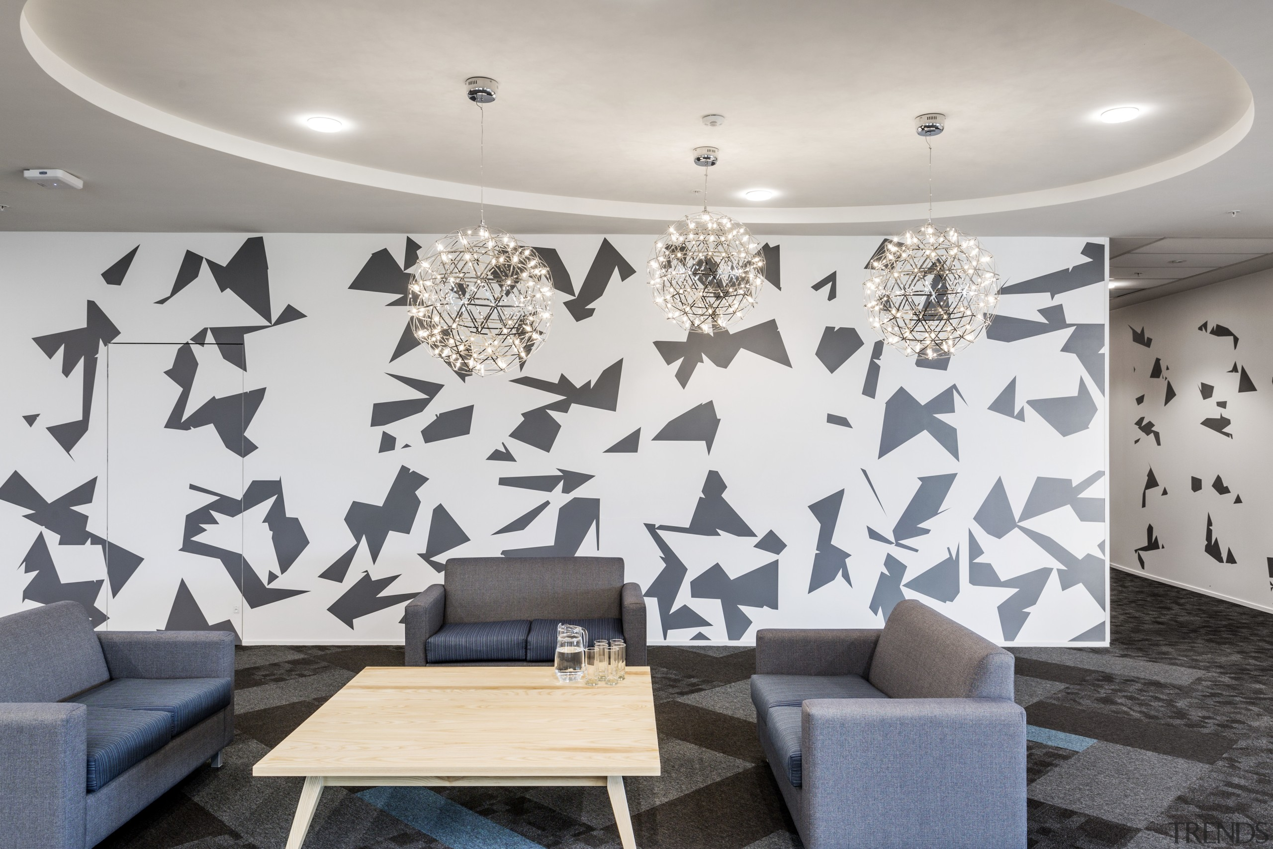 This breakout space at Datacoms new offices has ceiling, design, interior design, living room, mural, product design, room, wall, wallpaper, gray